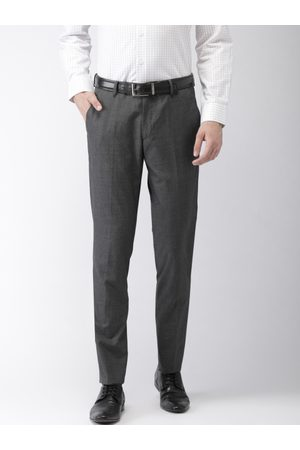 Black coffee Men Slim Fit Solid Formal Trousers