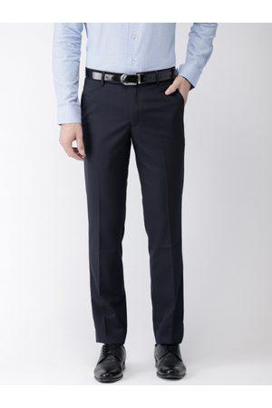 Black coffee Men Navy Solid Formal Trousers
