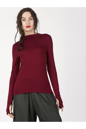 Ether Women Burgundy Solid High Neck Long Sleeve With Thumbhole Round Neck T-shirt
