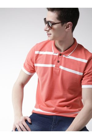 Mast & Harbour Men Coral Pink Striped Polo Collar T-shirt