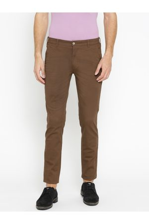 Park Avenue Men Brown Tapered Fit Printed Chinos