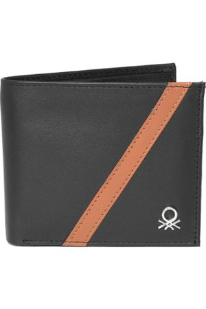 Benetton Men Black Solid Two Fold Leather Wallet