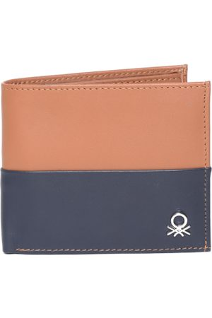 Benetton Men Brown & Navy Blue Colourblocked Leather Two Fold Wallet