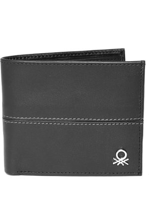 Benetton Men Black Leather Two Fold Wallet