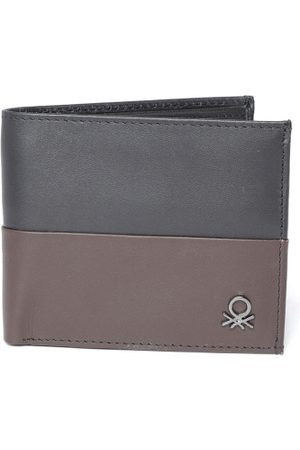 Benetton Men Black & Brown Colourblocked Two Fold Leather Wallet