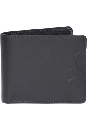 Benetton Men Black Solid Leather Two Fold Wallet