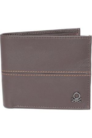 Benetton Men Brown Leather Two Fold Wallet