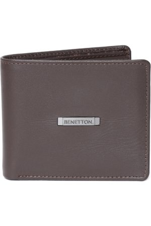 Benetton Men Coffee Brown Solid Leather Two Fold Wallet