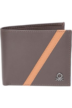 Benetton Men Brown Solid Two Fold Leather Wallet