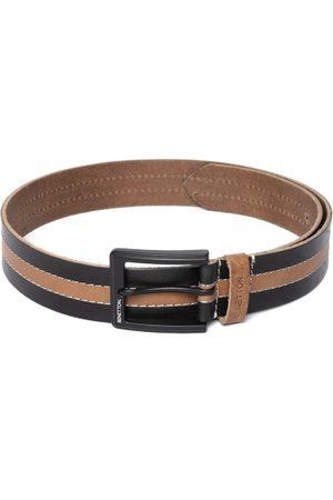 Benetton Men Black & Beige Striped Leather Belt