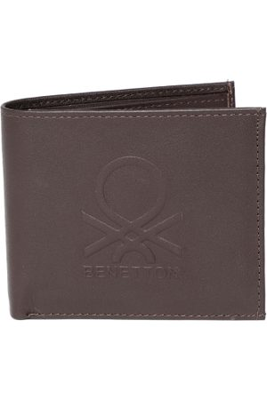 Benetton Men Coffee Brown Textured Leather Two Fold Wallet