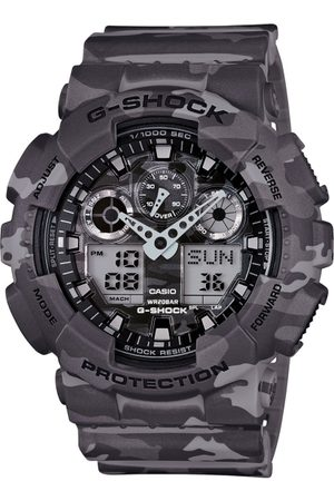 Casio G-Shock Men Grey Dial Camouflage Watch GA-100CM-8ADR - G581