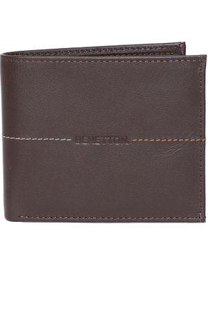 Benetton Men Solid Leather Two Fold Wallet
