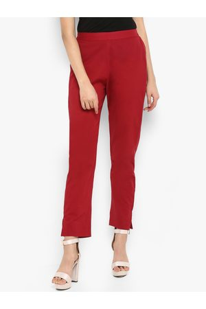 Janasya Women Maroon Regular Fit Solid Cropped Cigarette Trousers