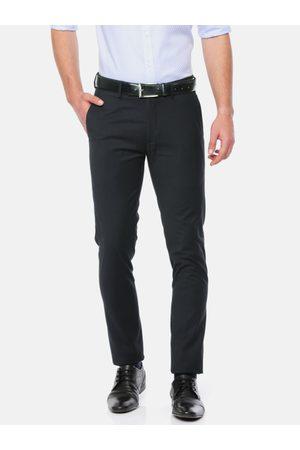 Ralph Lauren Men Navy Blue Super Slim Fit Solid Formal Trousers