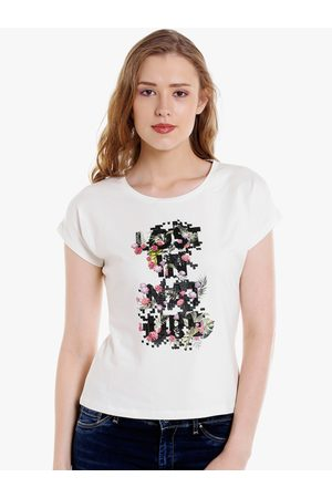 SPYKAR Women Off-White Printed Round Neck T-shirt