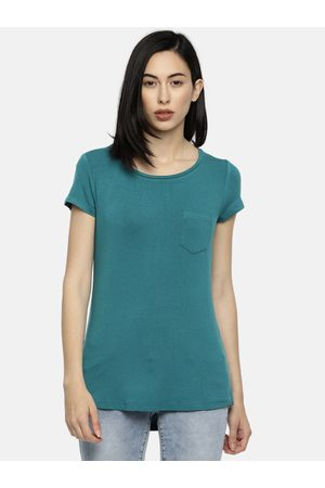 Lifestyle Women Teal Blue Solid Round Neck Longline T-shirt