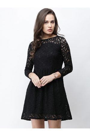 Cation Women Black Self Design Fit and Flare Dress