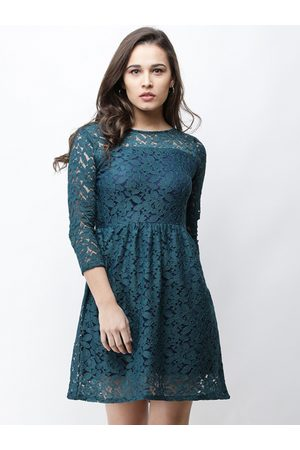 Cation Women Teal Self Design Fit and Flare Dress