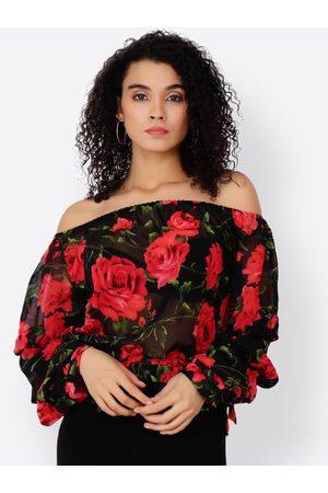 Cation Women Black & Red Printed Bardot Top