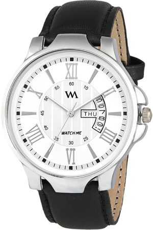 WM Men White Leather Analogue Watch with Wallet GW-005-DD-002p1
