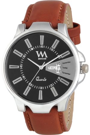 WM Men Black Leather Analogue Watch with Wallet GW-005-DD-007p1