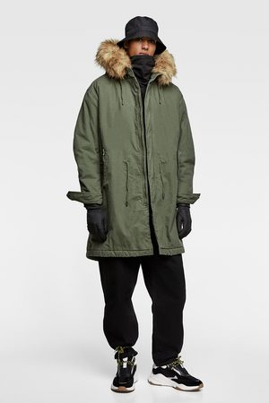 Zara PARKA WITH CONTRAST FAUX SHEARLING