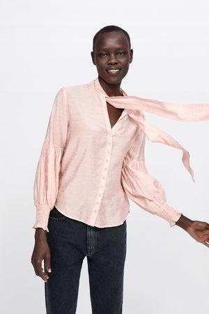 Zara Polka dot blouse with bow detail