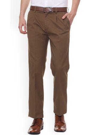 Allen Solly Men Brown Regular Fit Solid Formal Trousers
