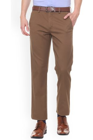 Allen Solly Men Brown Slim Fit Solid Formal Trousers
