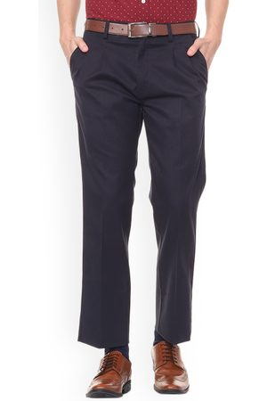 Allen Solly Men Navy Blue Regular Fit Solid Formal Trousers