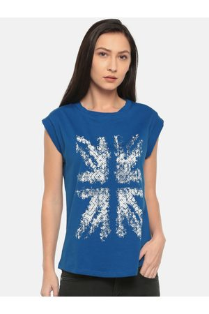 Pepe Jeans Women Blue Printed Round Neck T-shirt