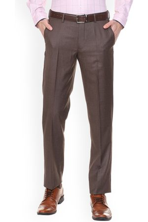 Louis Philippe Men Brown Regular Fit Self Design Formal Trousers