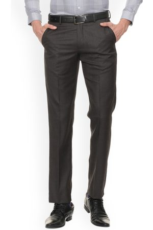 Louis Philippe Men Grey Regular Fit Self Design Formal Trousers