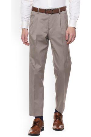Louis Philippe Men Beige Regular Fit Solid Formal Trousers