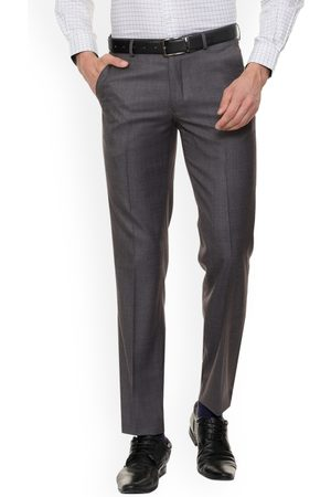 Louis Philippe Men Formal Trousers - Men Grey Regular Fit Solid Formal Trousers