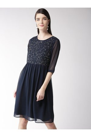 Antheaa Women Solid Fit & Flare Dress with Sequinned Detail