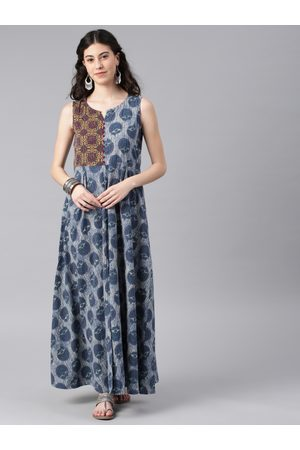 ALENA Women Blue Printed Ankle-Length A-Line Kurta