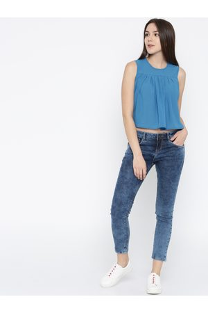Mast & Harbour Women Blue Solid High-Low Top
