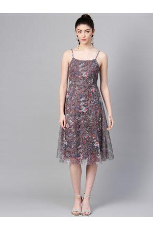 c7f9c6f545 Sassafras Women Printed A-Line Net Dress .
