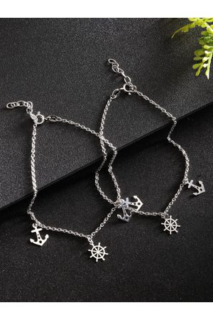 Carlton London Women Set of 2 925 Sterling Anklets with Plating