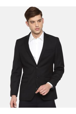 Raymond Weil Men Black Solid Single-Breasted Contemporary Fit Formal Blazer