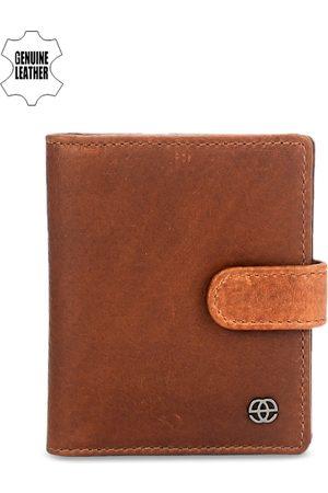 Eske Men Brown Solid Leather Card Holder