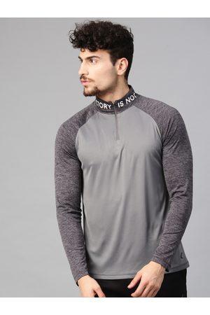 HRX Men Grey Solid High Neck T-shirt