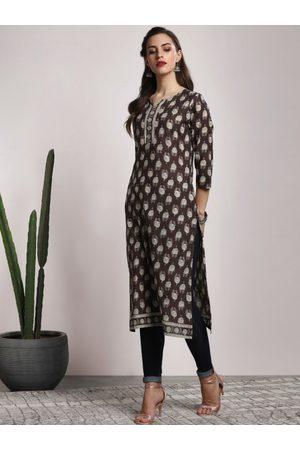 Sangria Women Brown& Off-White Printed A-Line Kurta