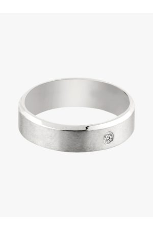 Peora Men 316L Stainless Steel Rhodium-Plated CZ Stone-Studded Band Ring