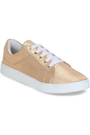 Get Glamr Women Solid Peach-Coloured Sneakers