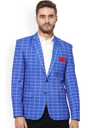 Hangup Men Blue Checked Single-Breasted Casual Blazer