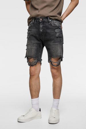 Zara Men Bermudas - Ripped denim bermuda shorts