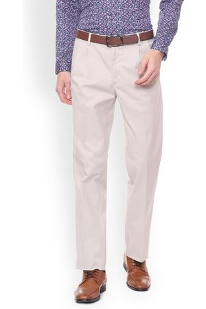 Allen Solly Men White Regular Fit Solid Formal Trousers